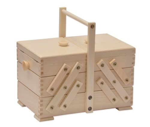 sewing box beech wood light, with 90-piece sewing kit