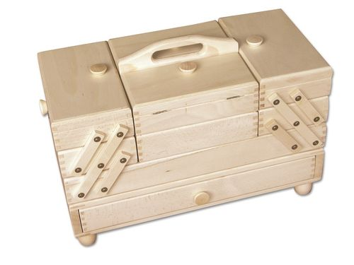 sewing box beech wood light, robust with drawer