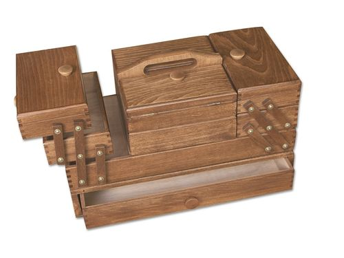 sewing box beech wood brown, robust with drawer
